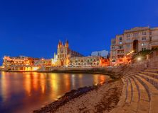 Malta. Our Lady of Mount Carmel Church at night. Stock Image