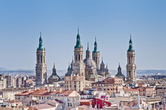 Our Lady Of The Pillar Basilica At Zaragoza, Spain Royalty Free Stock Photo