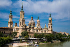 Our Lady of the Pillar Basilica with Ebro River Zaragoza, Spain. Royalty Free Stock Photography