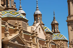 Our Lady of the Pillar Basilica in Zaragoza Stock Photos