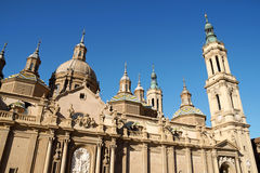 Our Lady of the Pillar Basilica in Zaragoza stock image