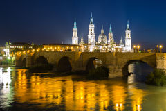 Our Lady of the Pillar Basilica Zaragoza Stock Image