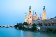 Our Lady of the Pillar Basilica Zaragoza, Spain Stock Image