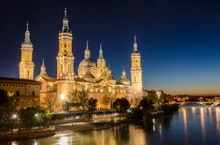 Our Lady of the Pillar in Zaragoza, Aragon Stock Photography