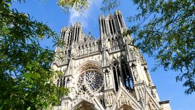 Reims, city in the Grand Est region of France. Our Lady of Reims (in french Notre-Dame de Reims) is a Roman Catholic cathedral in Reims, France, built in the stock video footage