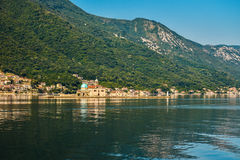 Our Lady of the Rock Island. And Church in Perast on shore of Boka Kotor bay Boka Kotorska, Montenegro, Europe Stock Photography