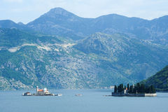 Our lady of the rock island on Kotor bay Stock Images