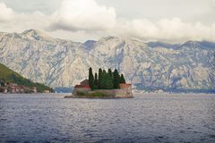 Our Lady of the Rock and St George islands in Perast on shore of Boka Kotor bay Boka Kotorska, Montenegro Stock Images