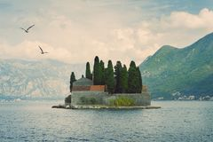 Our Lady of the Rock and St George islands in Perast on shore of Boka Kotor bay Boka Kotorska, Montenegro Royalty Free Stock Images