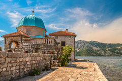 Our Lady of the Rocks Church. On the Island near Perast in the Bay of Kotor, Montenegro royalty free stock image