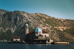 Our lady of the rocks church. In Kotor, Montenegro. A floting church at the sea royalty free stock images