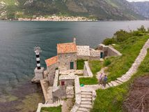 Our Lady of the Rocks Church view from Crkva Gospe od Andela. Crkva Gospe od An ela 1585g royalty free stock image