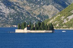 Our Lady of the Rocks Island near the town of Perast, Montenegro Stock Photo