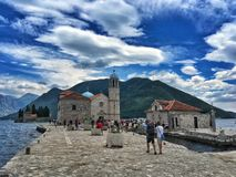 Our Lady of the Rocks isle. Our Lady of Rocks church on a small islet of the same name in Kotor Bay, Montenegro royalty free stock photos