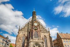 Our Lady`s Church of Nuremberg, Bavaria state, Germany. Cathedral Frauenkirche. Our Lady`s Church of Nuremberg, Bavaria state, Germany Stock Photos