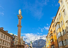 Our Lady statue at old town in Innsbruck Austria Royalty Free Stock Photography