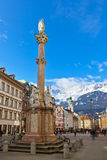 Our Lady statue at old town in Innsbruck Austria Stock Photo