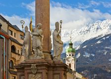 Our Lady statue at old town in Innsbruck Austria stock photos