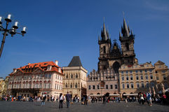Our Lady of Tynn 2. Staromestske Namesti and the Towers of the Church of Our Lady of Tynn in Prague stock image