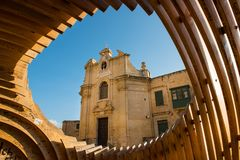 Our Lady of Victories Church in Valletta. VALLETTA, MALTA - AUGUST 21, 2017: The Our Lady of Victories Church in Valletta was built to commemorate the victory of Royalty Free Stock Photo