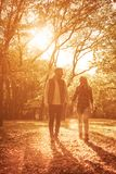 Our love shines like the sun. Couple walking in park and having conversation royalty free stock images