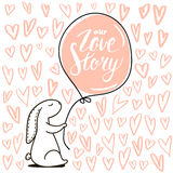 Our Love story quote. Cute hand drawn Rabbit keeps balloon.  Royalty Free Stock Image