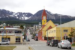Our Mary of Mercy Church in Ushuaia, Argentina. Our Mary of Mercy Church, with mountains in the background, in Ushuaia, the capital of Tierra del Fuego, Atartida stock photography