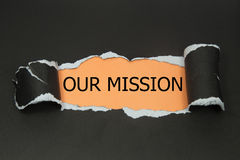 Our Mission message written Stock Photo
