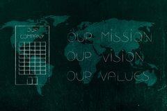 Our mission, our vision, our values text next to company buildin. Our mission, our vision, our values conceptual business illustration: policy text next to Stock Photography