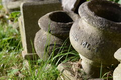 """Our Mum. Gray sepulchral vase with inscription """"Our Mum&#x22 Royalty Free Stock Image"""