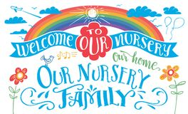 Our nursery hand-lettering headline set Stock Photography