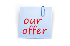 Our offer note Stock Image