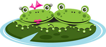 Our Pad. Welcome to our pad! A  illustration of a cute frog couple on a lily pad Royalty Free Stock Photography