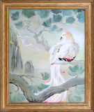 In our paradise. Landscape with beautiful bird sitting on the branch of pine. Oil painting on canvas. Photo of painting by artist Natalja Cernecka vector illustration
