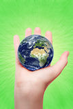Our planet. Our eath in womens hand Royalty Free Stock Image