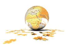 Our planet. Is collected from small  golden puzzles Stock Images