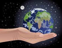 Our Precious Earth. Conceptual  illustration of an androgynous human hand holding Earth. Globe map intentionally distorted to include all continents Royalty Free Stock Photography
