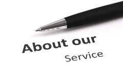 About our service. With pen Royalty Free Stock Photos