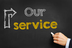 Our Service. Hand writes Our Service on blackboard Stock Photo