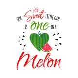 One in a melon girl. Our sweet little girl is one in a melon. 1st Birthday Party invitation card. Cute happy birthday print with watermelon. Invitation template vector illustration