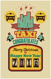 Our Taxi congratulates Merry Christmas and Happy New Year! Christmas vintage style greeting card design for taxi. Retro grunge vec Stock Photos