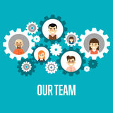 Our team banner. Teamwork concept. Smiling people characters in round gear icons on blue background. Our team banner, vector illustration. Concept of teamwork Stock Photo