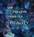 Our Thoughts Create Our Reality Word Cloud. Deep space background with a lotus seated buddha in left corner and a word cloud surrounding the phrase OUR THOUGHTS stock photos