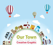 Our Town with Lovely House Icons (hot air balloon. Our Town with Lovely House Icons Royalty Free Illustration