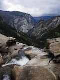 Final view on the top of Nevada falls in Yosemite national park Stock Image