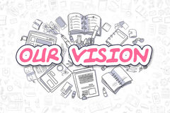 Our Vision - Cartoon Magenta Word. Business Concept. royalty free illustration