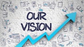 Our Vision Drawn on White Brick Wall. 3d. Our Vision Inscription on Modern Illustation. with Blue Arrow and Hand Drawn Icons Around. Our Vision Drawn on White Royalty Free Stock Photography