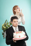 Our wedding. Awkward but funny modern wedding portrait Royalty Free Stock Images