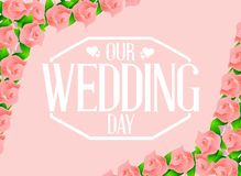 our wedding day flowers card illustration royalty free stock images