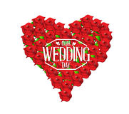 Our wedding day love heart in flowers illustration Stock Image